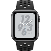 Reloj Apple® Watch Nike+ Serie 4 GPS + servicio móvil, caja de aluminio color gris espacial de 40 mm con correa deportiva Nike en color antracita/negro