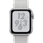 Reloj Apple Watch Serie 4 Nike+, caja de aluminio color plata de 40 mm con correa deportiva Nike color blanco cumbre