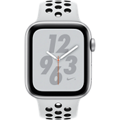Reloj Apple® Watch Nike+ Serie 4 GPS + móvil, caja de aluminio color plata de 44 mm con correa deportiva Nike color platino puro/negro