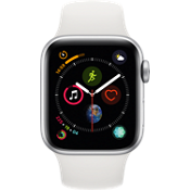 Apple® Watch Series 4 GPS + Cellular, caja de aluminio en color plata de 40 mm con correa deportiva color blanco