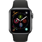 Reloj Apple® Watch Serie 4 GPS + servicio móvil, caja de aluminio gris espacial de 40 mm con correa deportiva en negro