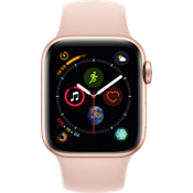 GPS, celular, reloj Apple® Watch Series 4, 40 mm, caja de aluminio dorado con correa deportiva Pink Sand