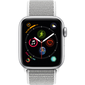 Reloj Apple® Watch Serie 4 GPS + móvil, caja de aluminio color plata de 40 mm con correa deportiva color nácar