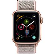 Reloj Apple® Watch Serie 4 GPS + servicio móvil, caja de aluminio dorado de 40 mm con correa deportiva en color arena rosa