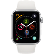 Apple® Watch Series 4 GPS + Cellular, caja de aluminio en color plata de 44 mm con correa deportiva color blanco