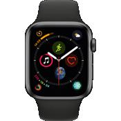 Reloj Apple® Watch Series 4 GPS + móvil, caja de aluminio gris espacial de 44 mm con correa deportiva negra