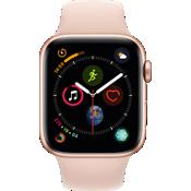 GPS, celular, reloj Apple® Watch Series 4, 44 mm, caja de aluminio dorado con correa deportiva Pink Sand
