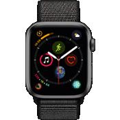 Reloj Apple® Watch Serie 4 GPS + servicio móvil, caja de aluminio gris espacial de 44 mm con correa deportiva en negro