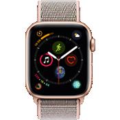 Reloj Apple® Watch Serie 4 GPS + servicio móvil, caja de aluminio dorado de 44 mm con correa deportiva en color arena rosa