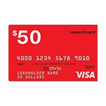 Oferta de tarjeta Visa prepagada de $50