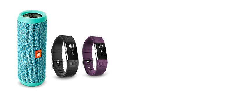 Todo cambia en el bienestar físico: controlador de actividad Fitbit Charge 2 y altavoz inalámbrico JBL Flip 3