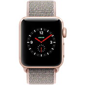 Reloj Apple® Watch Serie 3, 38 mm, caja de aluminio dorada con correa deportiva color Pink Sand