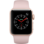 Reloj Apple® Watch Series 3, 38 mm, caja dorada con correa deportiva color Pink Sand