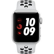 Reloj Apple® Watch Serie 3, 38mm, caja de aluminio plateado con correa deportiva Nike en Pure Platinum/negro