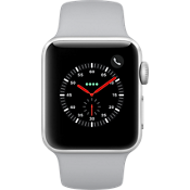 Reloj Apple® Watch Series 3, 38mm, caja de aluminio plateado con correa deportiva gris