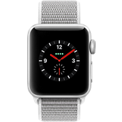 Reloj Apple® Watch Series 3, 38mm, caja de aluminio plateado con correa deportiva caracol
