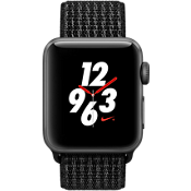 Reloj Apple® Watch Serie 3, 38 mm, caja de aluminio color Space Gray con correa deportiva Nike color negro/Pure Platinum