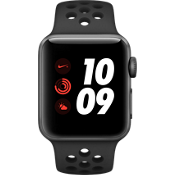 Apple® Watch Series 3, 38 mm, caja de aluminio gris espacial con correa deportiva Nike Anthracite/negro