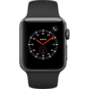Reloj Apple® Watch Series 3, Caja de aluminio gris espacial de 38 mm con correa deportiva negra