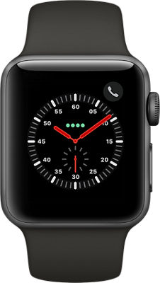 Reloj Apple® Watch Series 3, caja de aluminio de 38 mm con correa deportiva