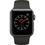Reloj Apple® Watch Serie 3, 38 mm, caja de aluminio color Space Gray con correa deportiva  gris