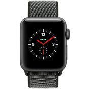 Reloj Apple® Watch Serie 3, 38mm, caja de aluminio color Space Gray con correa deportiva color Dark Olive