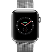 Reloj Apple® Watch Series 3, 38 mm, caja de acero inoxidable con correa Milanese