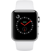 Reloj Apple® Watch Series 3 GPS + celular, caja de acero inoxidable de 38 mm con suave correa deportiva blanca