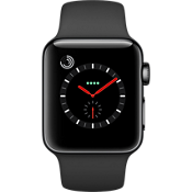 GPS, celular, reloj Apple® Watch Serie 3, 38 mm, caja de acero inoxidable color Space Black con correa negra