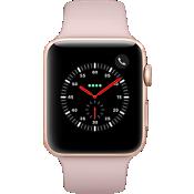 GPS, celular, reloj Apple® Watch Serie 3, 42 mm, caja de aluminio dorado con correa deportiva Pink Sand