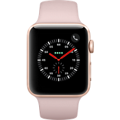 GPS, celular, reloj Apple® Watch Series 3, 42 mm, caja de aluminio dorado con correa deportiva Pink Sand
