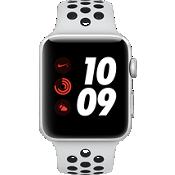Reloj Apple® Watch Serie 3, 42mm, caja de aluminio plateado con correa deportiva Nike en Pure Platinum/negro