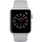 GPS, celular, reloj Apple® Watch Series 3, 42 mm, caja de aluminio plateado con correa deportiva color Fog