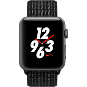 Reloj Apple Watch Nike+, caja de aluminio de {[#1]} mm en gris espacial con correa deportiva Nike color Midnight Fog