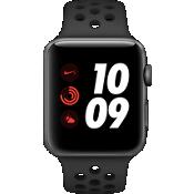 Apple® Watch Series 3, 42 mm, caja de aluminio color Space Gray con correa deportiva Nike Anthracite/negro