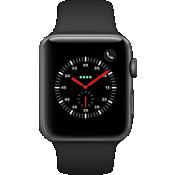 Reloj Apple® Watch Series 3 GPS + móvil, caja de aluminio gris espacial de 42 mm con correa deportiva negra