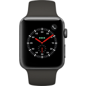 GPS, celular, reloj Apple® Watch Serie 3, 42 mm, caja de aluminio color Space Gray con correa deportiva gris