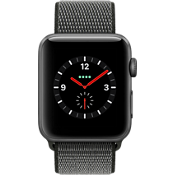 Reloj Apple® Watch Serie 3, 42mm, caja de aluminio color Space Gray con correa deportiva color Dark Olive