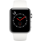 Reloj Apple® Watch Serie 3 GPS, caja de acero inoxidable de 42 mm con suave correa deportiva blanca