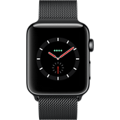Reloj Apple® Watch Series 3, 42 mm, caja de acero inoxidable, color Space Black con correa Space Black Milanese