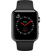 Reloj Apple® Watch Serie 3, 42 mm, caja de acero inoxidable color Space Black con correa deportiva negro