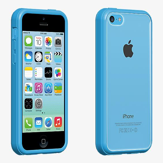 Protector transparente con borde azul para iPhone 5c
