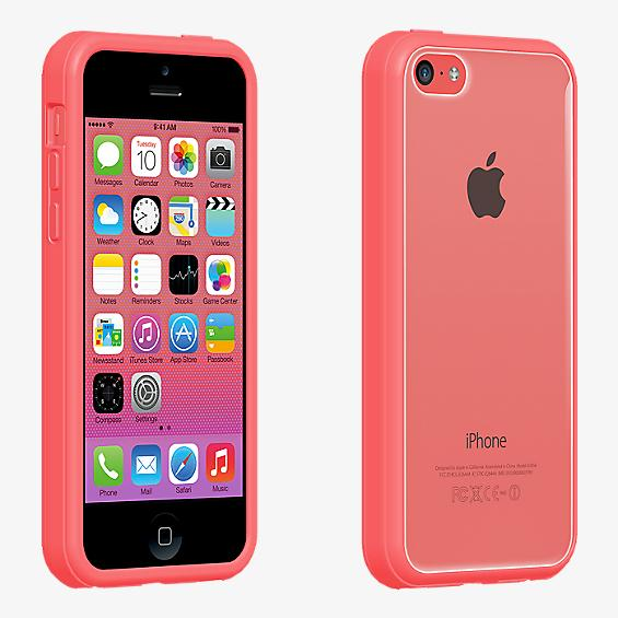 Protector transparente con borde rosa para el iPhone 5c