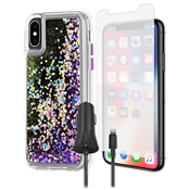 Paquete de carcasa Case-Mate Waterfall, protector de pantalla y cargador para el iPhone XS/X