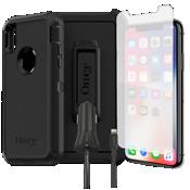 Paquete de estuche Otterbox Defender, protección y cargador para iPhone XS/X
