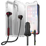 Paquete de protector Otterbox Symmetry, protector de pantalla y cargador con audífono para el XS/X