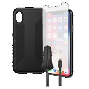 Paquete de estuche Speck Presidio Grip, protección y cargador para el iPhone XS/X