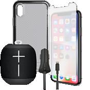Paquete de carcasa Tech21 Evo Check, protector de pantalla y cargador con Wonderboom para el iPhone XS/X
