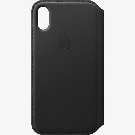 Estuche tipo folio de piel para iPhone X