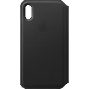 Estuche tipo folio de piel para iPhone X - Negro